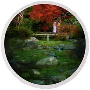 Two Girls In Kimono Standing On A Bridge In Japanese Garden In A Round Beach Towel