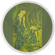 Two Girls Next To The Head Of Orpheus Round Beach Towel