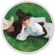 Two Girls On A Lawn Round Beach Towel