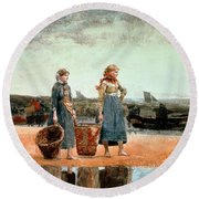 Two Girls On The Beach Round Beach Towel