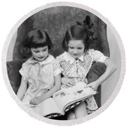 Two Girls Reading A Book, C.1920-30s Round Beach Towel