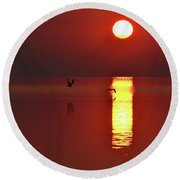 Two Gulls Flying At Sunrise Two  Round Beach Towel