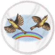 Two Happy Birds Round Beach Towel