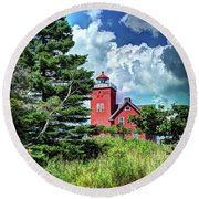 Two Harbors Lighthouse Round Beach Towel