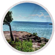 Two Harbors North Pierhead Light Round Beach Towel