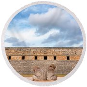 Two Headed Statue And Governors Palace Round Beach Towel