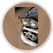 Two Headlights Round Beach Towel