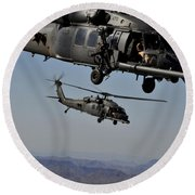 Two Hh-60 Pave Hawk Helicopters Prepare Round Beach Towel