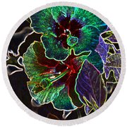 Two Hibiscus Glowing Edges Abstract Round Beach Towel