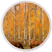 Two Horses Grazing In The Autumn Air Round Beach Towel