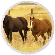 Two Horses In A Field Round Beach Towel
