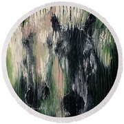 Two Horses In Greens Round Beach Towel