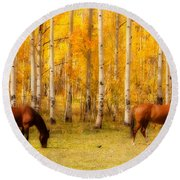 Two Horses In The Colorado Fall Foliage Round Beach Towel