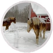Two Horses In Winter Round Beach Towel