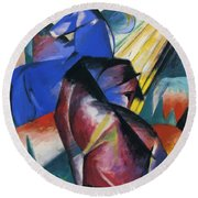 Two Horses Red And Blue 1912 Round Beach Towel