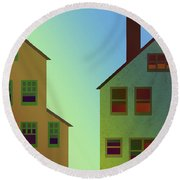 Two Houses Round Beach Towel