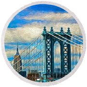 Two Icons  Round Beach Towel