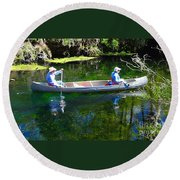 Two In A Canoe Round Beach Towel