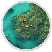Two Kayakers Round Beach Towel