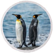 Two King Penguins Facing In Opposite Directions Round Beach Towel
