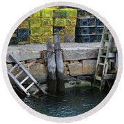 Two Ladders At High Tide Round Beach Towel