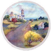 Two Lights In Cape Elizabeth Maine Round Beach Towel