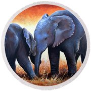 Two Little Elephants Round Beach Towel