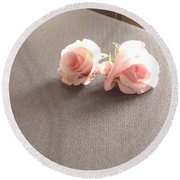 Two Little Pink Roses Round Beach Towel