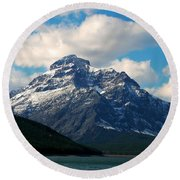Two Medicine Lake And Rising Wolf Mountain Round Beach Towel