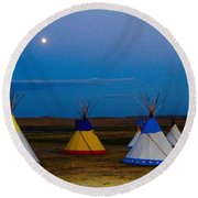 Two Medicine Teepees Round Beach Towel