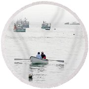 Two Men In A Dinghy Round Beach Towel