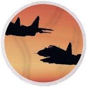 Two Migs At Sunset Round Beach Towel
