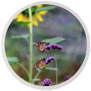 Two Monarch Butterflies And Sunflower 2011 Round Beach Towel