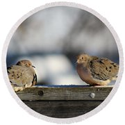 Two Mourning Doves Round Beach Towel