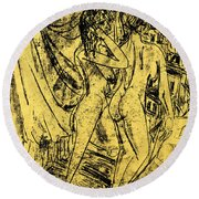 Two Nudes At The Window Round Beach Towel