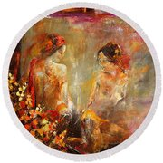 Two Nudes  Round Beach Towel