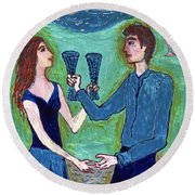 Two Of Cups Illustrated Round Beach Towel