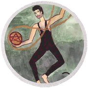 Two Of Pentacles Illustrated Round Beach Towel