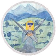 Two Of Swords Illustrated Round Beach Towel