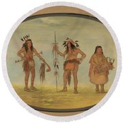 Two Ojibbeway Warriors And A Woman Round Beach Towel