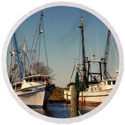 Two Old Shrimpboats Round Beach Towel