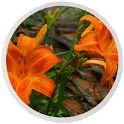 Two Orange Daylilies Round Beach Towel