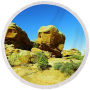 Two Orange Rocks Round Beach Towel