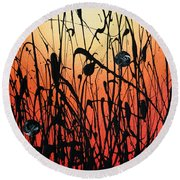 Two Orbs Meet In A Field At Sunset Round Beach Towel