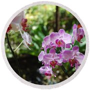 Two Orchid Branches Number One Round Beach Towel