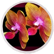 Two Orchids And A Bud Round Beach Towel