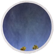 Two Palm Trees- Art By Linda Woods Round Beach Towel by Linda Woods