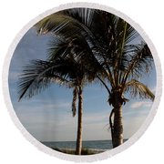 Two Palms And The Gulf Of Mexico Round Beach Towel