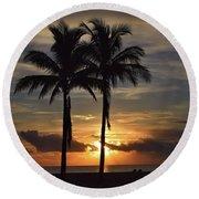 Two Palms At Dawn 18222 Round Beach Towel
