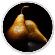 Two Pears Light Painted On Black Background Round Beach Towel
